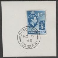 British Virgin Islands 1938-47 KG6 Badge Of Colony 10s Blue With Madame Joseph Forged Postmark Type 434 - British Virgin Islands