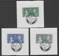 Turks & Caicos Islands 1937 KG6 Coronation Set Of 3 Each On Individual Piece With Madame Joseph Forged Postmark Type 427 - Turks- En Caicoseilanden