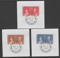 British Virgin Islands 1937 KG6 Coronation Set Of 3 Each On Individual Piece Cancelled With Madame Joseph Forged Postmar - British Virgin Islands