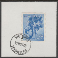 Seychelles 1938 KG6 1r50 Ultramarine On Piece Cancelled With Madame Joseph Forged Postmark Type 389 - Seychelles (...-1976)