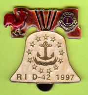 Gros Pin's Club Lions Rhode Island 1997 Coq Cloche Ancre - #224 - Associazioni