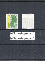 Variété De 1986 Neuf** Y&T N°  2426 & 2426a N° Au Dos - Varieties: 1980-89 Mint/hinged