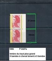 Variété Paire De 1986 Neuf** Y&T N° 2427a 3 Bandes à Cheval Tenant à 3 Bandes & TPG - Varieties: 1980-89 Mint/hinged