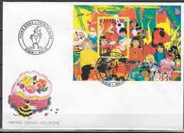 LATVIA , Lettland , Lettonia  CHESS / INSECTS /CHILDREN / DOGS / ANIMALS - FDC COVER  1996 - Lettonie