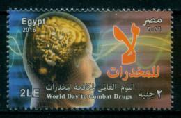 EGYPT / 2016 / WORLD DAY TO COMBAT DRUGS / MEDICINE / ANTI DRUGS / NARCOTICS / ADDICTION / ANATOMY / BRAIN / HEAD / MNH - Nuovi