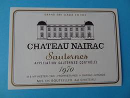 Etiquette Neuve Chateau Nairac 1970 Grand Cru Classé Sauternes - Bordeaux