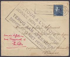 L. De Renaix Affr. N°430 Flam. GENT 1 /27.VII 1940 Via Croix-Rouge De Renaix Pour Soldat Belge à POUSSAN - Grand Cachet - 1936-1951 Poortman