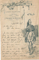 LETTRE ILLUSTREE A EN - TETE ARMEE FRANCAISE , REGIMENT DE DRAGONS ECRITE EN 1907 - Unclassified