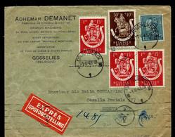 Env. (Ent. ) Obl. CHARLEROI - M 1 M - Du 01/04/43 Par Exprès + Contrôle Censure  Pour Geneve (Suisse) - Landpost (Ruralpost)