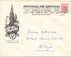 Omslag Enveloppe - Pub Reclame - Apostolaat Der Grootstad , Antwerpen - Stempel Cachet 1955 - Sobres