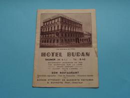 Hôtel BUDAN Saumur (M.- & L.) Tél : 0-43 ( Prop Dir. G. SCHNERB ) Depliant / Folder (voir Scans) Plier ! - Publicités