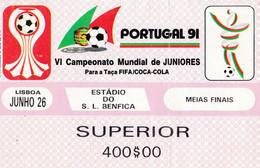TICKET-- PORTUGAL -91 -VI CAMPEONATO DE JUNIORES - Tickets - Entradas