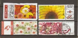 Belgique - Petit Lot De 4 Duostamps° - 1 Sur Fragment - Fleurs - Gerbera - Tournesol - Rose - Marguerite - Private Stamps