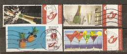 Belgique - Petit Lot De 4 Duostamps° - 1 Sur Fragment - Champagne - Cocktails - Célébrations - Ananas - Boissons - Private Stamps