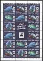 NW0551 2015 MALDIVES WWF GREEN HUMPHEAD PARROTFISH #6200-6203 FULL SH(4SET) MNH - Ongebruikt