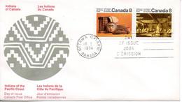 CANADA. N°521-2 De 1974 Sur Enveloppe 1er Jour. Indiens De La Côte Du Pacifique. - Indianer