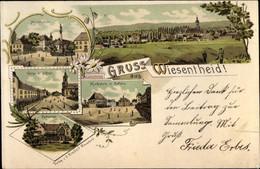 Lithographie Wiesentheid Im Kreis Kitzingen Unterfranken, Marienplatz, Kirche, Schloss, Rathaus, Marktplatz - Otros