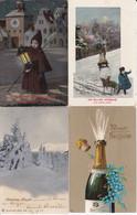 DC1605- Ak Neujahr 4 Karten Lot Glückwünsche Prosit Neujahr Kinder Im Schnee Schlitten Sektflasche - Neujahr