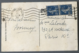 France Poste Maritime N°279 (x2) Sur CPA OBL Mécanique Ligne New York Au Havre 21.6.1936, Paquebot NORMANDIE - (B049) - Maritime Post