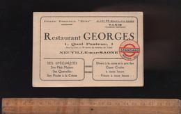 Carte De Visite : Restaurant GEORGES 1 Quai Pasteur NEUVILLE SUR SAONE Poste Essence STANDARD MOTOR OIL Taxi - Visiting Cards