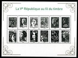 France - 2013 - Mariannes De La Ve République 12 Timbres - NEUF - Feuillet No F4781 - Cote 36,00 Euros - Mint/Hinged