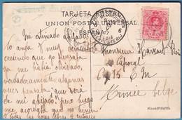 """C Affr Espagne De Barcelonna/1917 Pour Càd POSTES MILITAIRES 6/BELGIQUE + CENSURE MILITAIRE En Vert + Censeur """"117"""" - Belgisch Leger"""