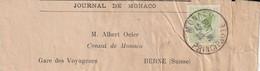 Monaco Bande De Journal Pour La Suisse 1931 - Cartas