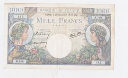 Billet De 1000 Fr. Commerce Et Industrie 28-11-1940  Plis En Croix - 10 000 F 1945-1956 ''Génie Français''