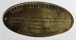Plaque En Laiton Great Western Railway 1st August 1863 E. L. Chapman General Manager Train Chemin De Fer - Spoorweg