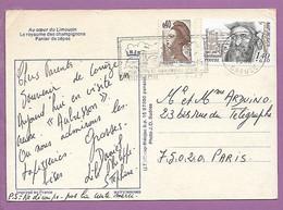 CP Panier De Cèpes CREUSE, Aubusson, Flamme SCOTEM N° 4986, Ses Tapis Et Tapisseries D'art - Mechanical Postmarks (Advertisement)