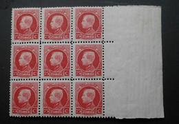 """1932 : Cob 212** X 9 : """" Petits Montenez""""  ( Sans Charnière D6) Voir Verso - 1921-1925 Small Montenez"""