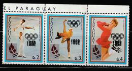 PARAGUAY - N°2387/9 **/* (1989) Jeux Olympiques De Albertville - Variété Double Surcharge - - Paraguay