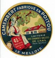 """Et. CAMEMBERT """" LE MELLOIS """" Fabriqué En Poitou - Laiterie Des Grandes Vallées De Chail - Kaas"""