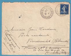 Env D'un Militaire Belge Affr 25c De GUINES EN CALAIS/1916 Pour Bruxelles Par Passeur Jean Tordeur + Cens Anglaise - Belgisch Leger