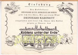 Einladungskarte Sektkellerei Deinhard & Co., Koblenz Unter Der Erde, Um 1930 - Pubblicitari