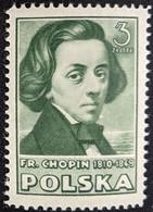 Poland, 1947, Mi 465, Polish Culture, Frédéric Chopin (olive Green), 1v Out Of Set, MNH - Música