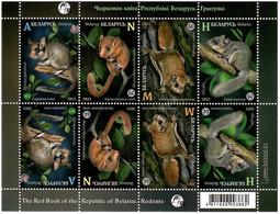 Belarus 2021 . Fauna. Rodents. Sheetlet Of 8 (2 Sets). - Bielorrusia