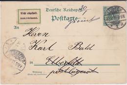REDUZIERT DR Krone Adler Ganzsache P 30 Lübeck M Klebezettel Retour 1899 - Postwaardestukken