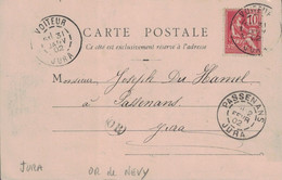 JURA - VOITEUR  - 31-1-1902- MOUCHON - OR DE NEVY SUR SEILLE - CARTE POSTALE NEVY SUR SEILLE - ANIMATION - ENTREE DU VIL - 1877-1920: Periodo Semi Moderno