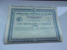 COMPAGNIE CENTRALE DES ETAINS (bénéficiaire) - Unclassified