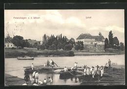 AK Petershagen A.d. Weser, Uferpartie Mit Booten Und Schloss - Petershagen