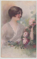 GLAMOROUS LAFY WITH PINK ROSES - 1900-1949
