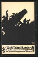 Künstler-AK Sign. August Haiduk: Schattenbild, Soldaten Mit Kanone, Kriegshilfe - War 1914-18
