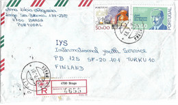 Portugal Registered Cover To Finland - Covers & Documents