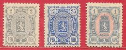 Finlande N°28A 2p, N°32B, N°33A (dentelé 12,5 Ou/or 14x13) 1889-95 * - Neufs