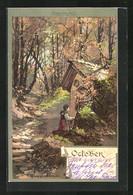 Künstler-AK Theodor Guggenberger: Ältere Dame Vor Ihrem Häuschen Im October - Guggenberger, T.