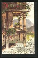 Künstler-AK Theodor Guggenberger: Balkon Mit Blick Auf Ein Dorf Und Gebirge - Guggenberger, T.