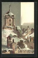 Künstler-AK Theodor Guggenberger: Verschneiter Glockenturm Im Januar - Guggenberger, T.