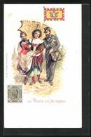 AK La Poste En Autriche, Österreichischer Briefträger Begleitet Damen Mit Regenschirm - Correos & Carteros