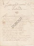 MAASTRICHT - 1672 - Guerre De Hollande - Pièce En Vers  (V432) - Manuscripts